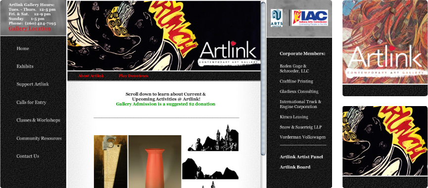 Artlink Gallery home page and details