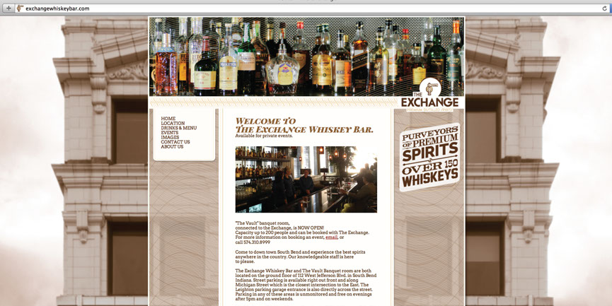 Exchange Whiskey Bar home page