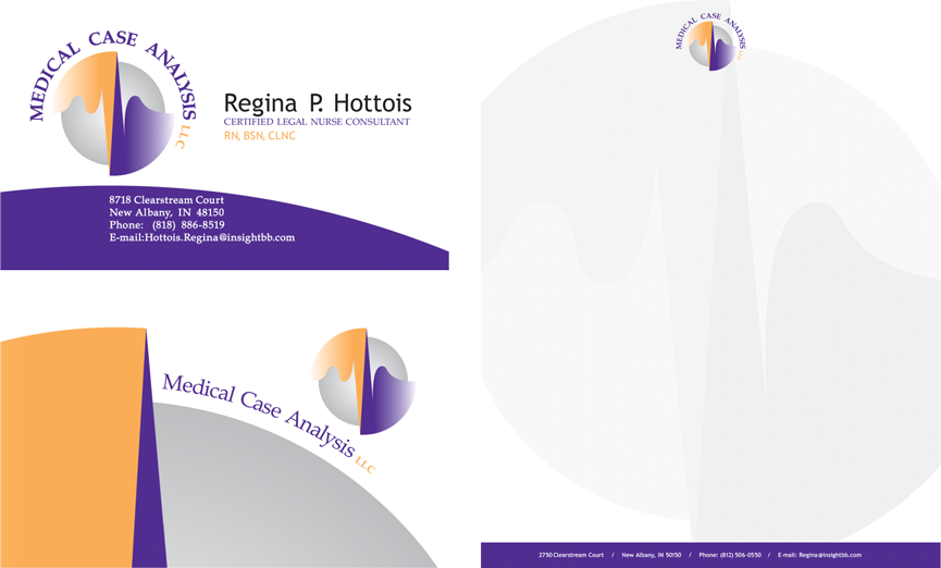 Medical Case Analysis logo, business card, and letterhead